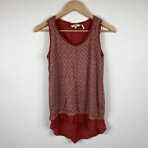 Fat-Face-Womens-Tank-Top-Size-8-Red-100-Linen-Sleeveless-Top