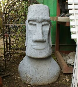 Image Is Loading 80cm Grey Classic Easter Island Head Garden Statue