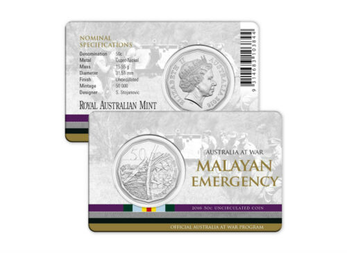 Malayan Emergency 50c Coin 2016 Australia at War Series