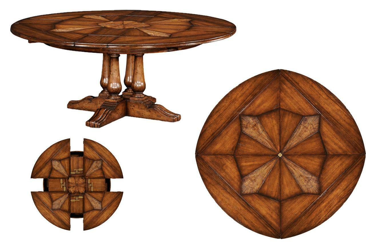 Expandable Round Jupe Dining Table With Self Storing Leaves By Jonathan Charles For Sale Online