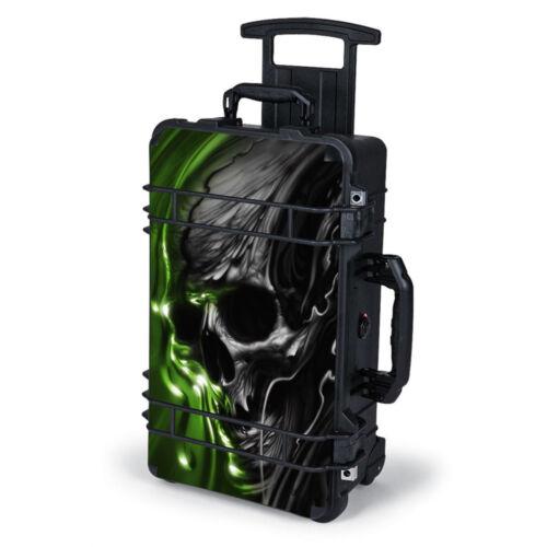 Skin Decal Wrap for Pelican Case 1510 / Dark Skull, Skeleton Neon Green