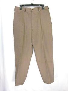 Roundtree-amp-Yorke-Men-039-s-Pants-Slacks-Tan-Khaki-34-x-30-100-Cotton
