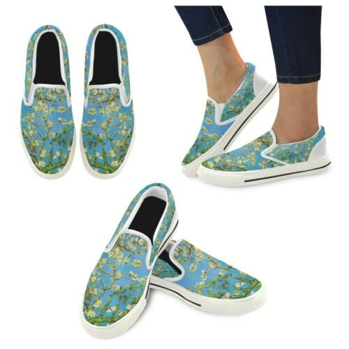 Almond Branches in Bloom Van Gogh Art Slip-on Canvas Big Kid Shoes US Size 2-6
