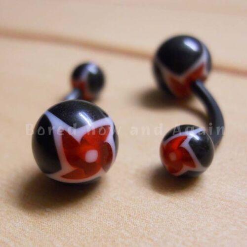 16 g acrílico Hipoalergénico no metálica 12 mm Piercing Para Ombligo-Negro Con Blanco Rojo