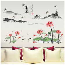 Asian Landscape Chinese Decor Lotus Cherry Blossom Wall Art Zen Sticker Decal UK