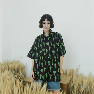 Cactus-Print-Shirt-Summer-Turn-Down-Collar-Blouse-Women-Causal-Short-Sleeve-Top