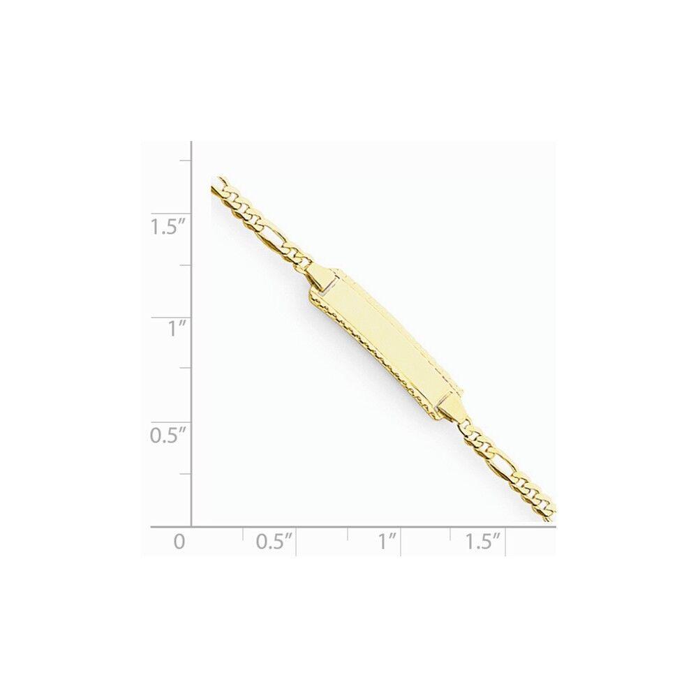 14k oro Giallo 5mm Predisposto Predisposto Predisposto per Incisione Piastra Lucidato Figaro 51d89d