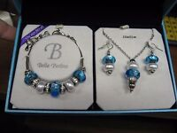 Bella Perlina Charm & Crystal Bead Bracelet Earrings & Necklace Set Lite Blue