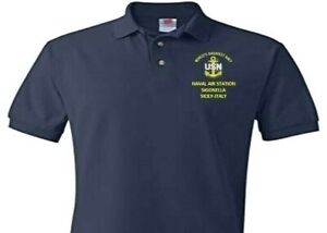 NAVAL AIR STATION SIGONELLA *SICILY-ITALY  EMBROIDERED POLO SHIRT/SWEAT/JACKET.