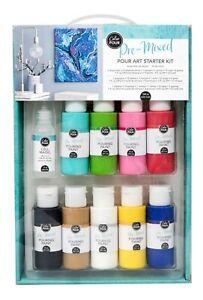 COLOR-POUR-PRE-MIXED-STARTER-KIT-25pc-Modern-Canvas-Painting-Paint-Drip-Set