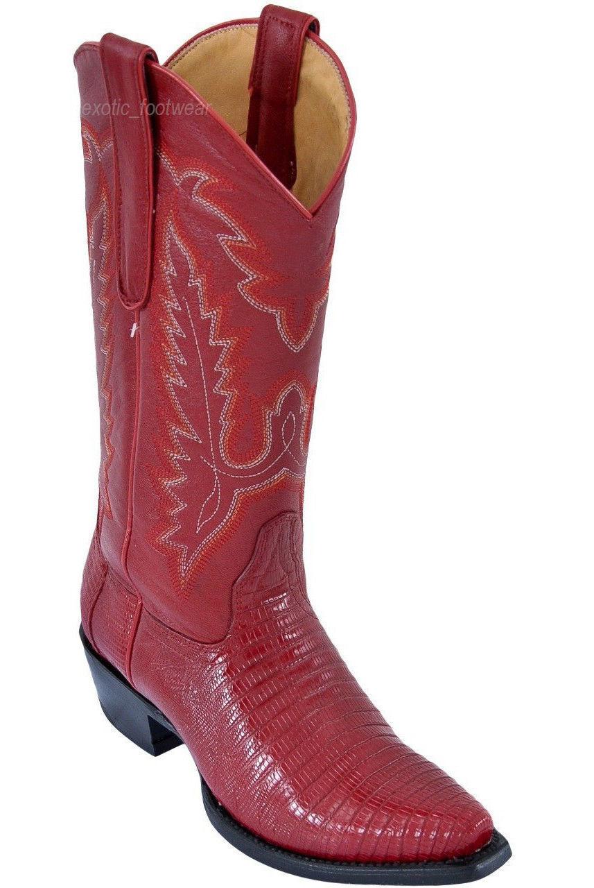 LOS ALTOS WOMEN RED GENUINE TEJU LIZARD SNIP TOE WESTERN COWBOY BOOT 340712