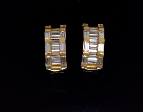 14K Solid Yellow Gold Baguette Huggie Hoop Earrings 2TCW