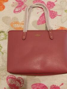 NWT-Coach-F58846-City-Zip-Tote-Shoulder-Handbag-Crossgrain-Leather-Rouge-Pink