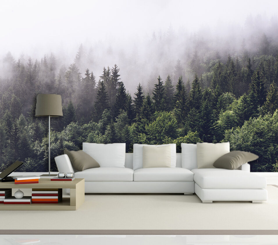 3D forest fog scenery Wall Paper Print Decal Wall Deco Indoor wall Mural