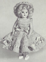 Vintage Crochet Pattern To Make 8 Inch Doll Clothes Panties Dress Hat