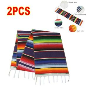 USA-2PCS-Mexican-Serape-Table-Runner-for-Wedding-Decor-Fringe-Cotton-Tablecloth