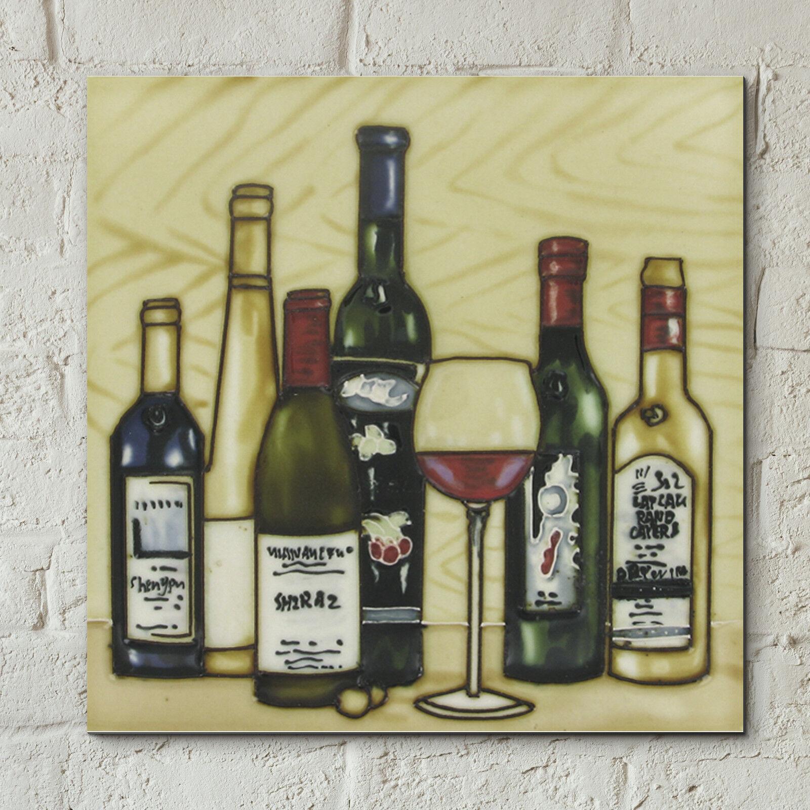 Wine Bottle Glass Ceramic Picture Tile Vineyards Kitchen Wall Plaque ...