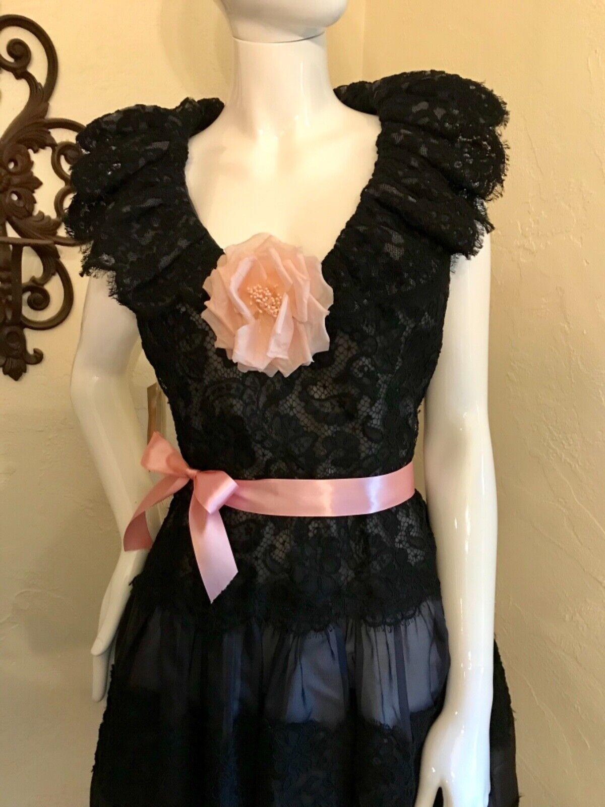 VINTAGE 1980's SCAASI BOUTIQUE Black Lace Cocktai… - image 3