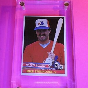 1984-Donruss-Mike-Stenhouse-Rookie-Card-RC-034-Rated-Rookie-034-No-Number-Error-MINT