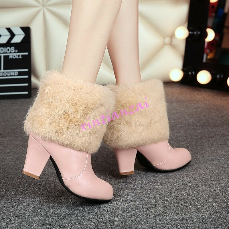 Women winter snow shoes furry sweet ankle boot high block heel Leather SHoes HOT