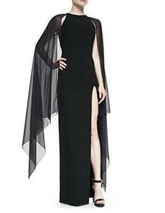 67183c074c6 Women Fashion Cape Sleeve High Slit Plain Chiffon Maxi Dress Party ...