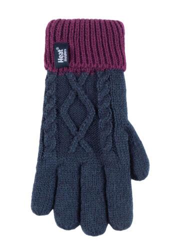 Childrens Girls Knit Winter Thermal Ski Bobble Hat and Gloves Set Heat Holders