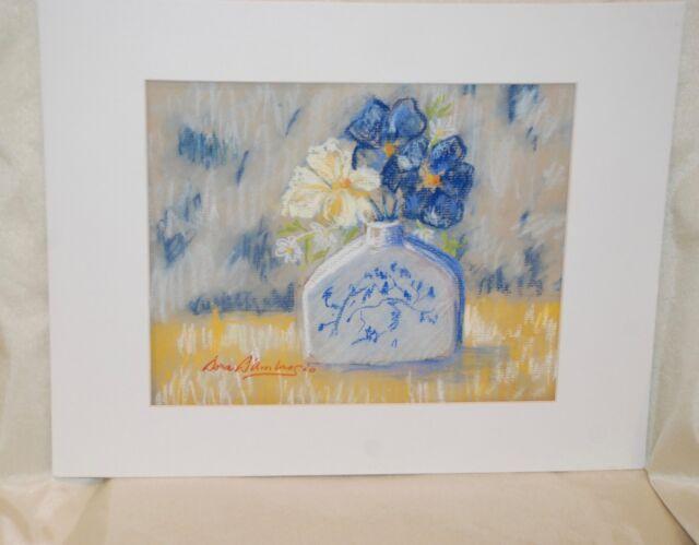 Original Pastel Painting Drawing Art Blue White Flowers Vase Still
