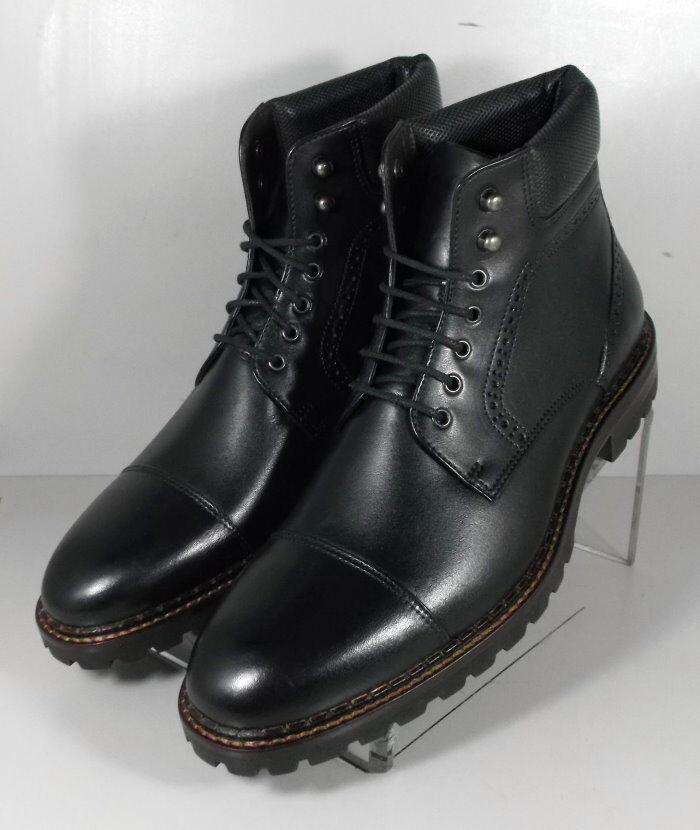 209837 MSBT50 Men's Shoes Size 10.5 M Black Leather Boots Johnston & Murphy
