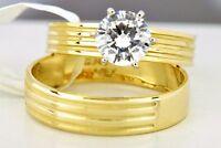 Juego De Argollas De Matrimonio Solitaire 1.0 Ct Diamante Simulado Y Banda 14k