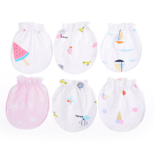 Cute Cotton Newborn Baby Infant Anti Scratch Mittens Gloves Handguard 0-6M RS