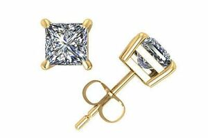 14Kt Yellow Gold White Sapphire Princess Cut Stud Earrings