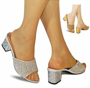 a2b83a11974 NEW DIAMANTE PARTY EVENING BRIDAL LOW MID HEEL WIDE FEET SHOES MULES ...