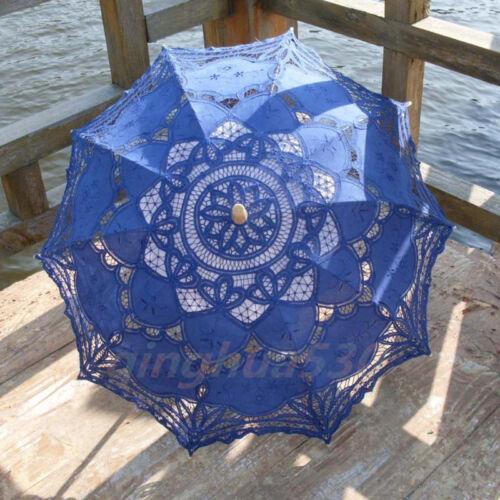 Cotton Lace Sun Wedding Parasol Embroidery Umbrella Bridal Accessory Party Decro