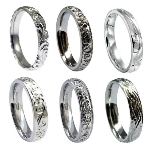 4mm and 5mm Court Wedding Band Ring 925 Sterling Silver 3mm