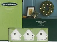 Smith & Hawken 10 Porcelain Birdhouse Warm White Led String Lights Green Wire