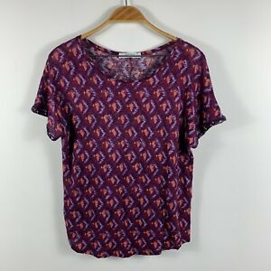 Promod-Womens-Top-Size-10-Short-Sleeve-Purple-Pink-Geometric-Sequin-Sleeves