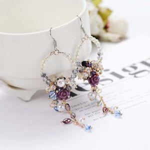 Beaded-Long-Dangle-Drop-Rhinestone-Fringed-Earrings-Flower-Tassel-Ear-Stud