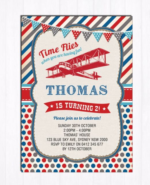 Vintage Airplane Invitation Retro First 1st Birthday Invite Boy Pilot Party Cute