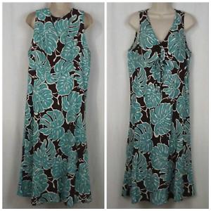 Hilo Hattie damen dress Größe L Floral Gatherot bodice braun Grün Weiß Hawaii