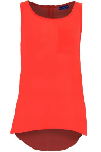 Women/'s Neon High Low Sleeveless Chiffon Front Pocket Ladies Vest Top Blouse
