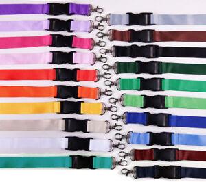 10-unbedruckte-Schluesselbaender-Lanyard-25mm-breit-Polyester-20-Farben