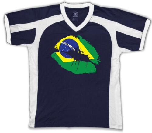 Brazilian Flag Colors Brazil Lipstick Kiss Lips Heritage Men/'s V-Neck Sport Tee
