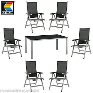 kettler basic plus gartenm bel 1 gartentisch 160 cm und 6 klappsessel in silber ebay. Black Bedroom Furniture Sets. Home Design Ideas