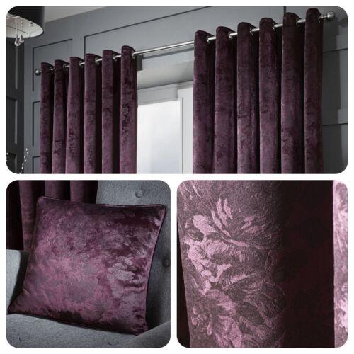 Curtina-Downton violet-Floral Damassé Oeillet rideaux//Coussins Collection
