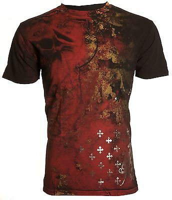 Archaic AFFLICTION Mens T-Shirt BRASS Skulls Tattoo Biker Gym MMA UFC M-4XL $40