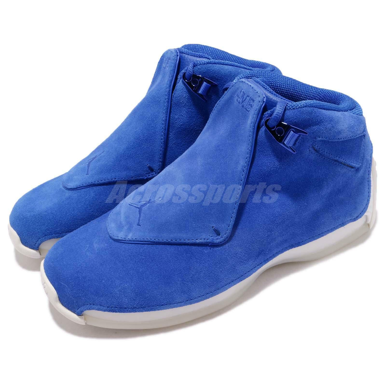Nike Air Jordan 18 Retro Racer Blue Suede Mens Basketball Basketball Mens Shoes AA2494-401 065585