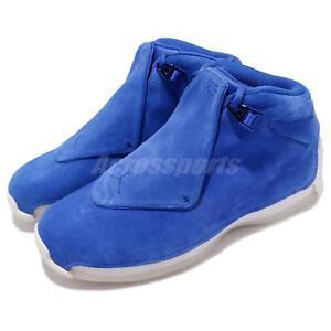 0f10dc1ec3ad Nike Air Jordan 18 Retro Racer Blue Suede Mens Basketball Shoes ...