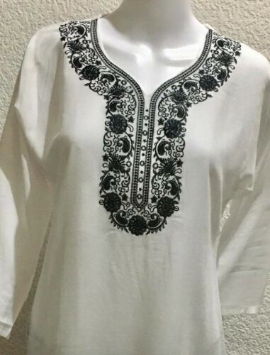 Printemps//été femmes Blanc Top Soft brodé Kurta Caftan Robe Taille L