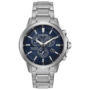 Citizen-Men-039-s-Chronograph-Blue-Dial-Titanium-Bracelet-42mm-Watch-AT2340-56L