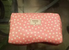 Fossil cute polka dot mimi PINK squared leather cosmetic pouch wallet NWT
